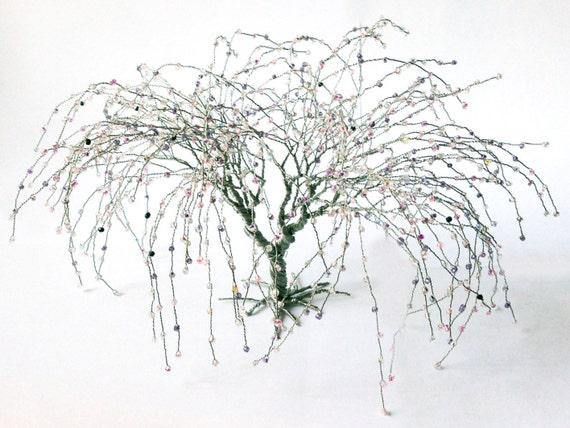 Weide Draht Art Baum Silberdraht rosa grau Perlen Kunst Baum | Etsy