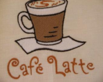Embroidered Linen Towel Cafe Latte