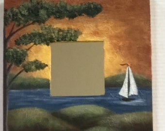 Sailboat and Water Hand Painted Mirror