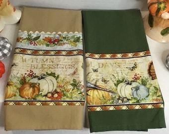 Kitchen Hand Towel   Decorative Bordered Towel  Handmade Kitchen Linen