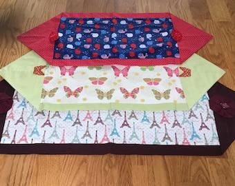 Handmade Fabric Table Runner    Table Topper    Dresser Runner   Whales   France  Butterflies
