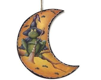 Hand Painted   Batty Frog  Halloween Decor   Moon