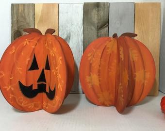 Dimensional Pumpkin   Hand Painted 2 Piece Pumpkin  Fall Decor