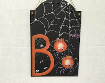 Halloween BOO Spiders     Hand Painted