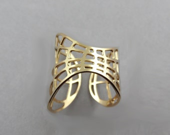 space ring space jewelry open ring adjustable ring fashion ring statement ring  wraparound ring wire ring fishnet space age fashion ring