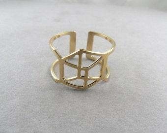 Cube ring geometric ring geometric jewelry adjustable ring geometric cubes architecture jewelry