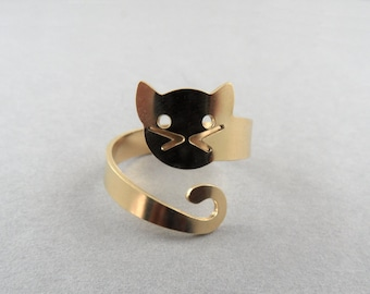 wrap ring cat ring adjustable ring cat jewelry cat lovers gold cat ring  gold cat cute ring animal ring