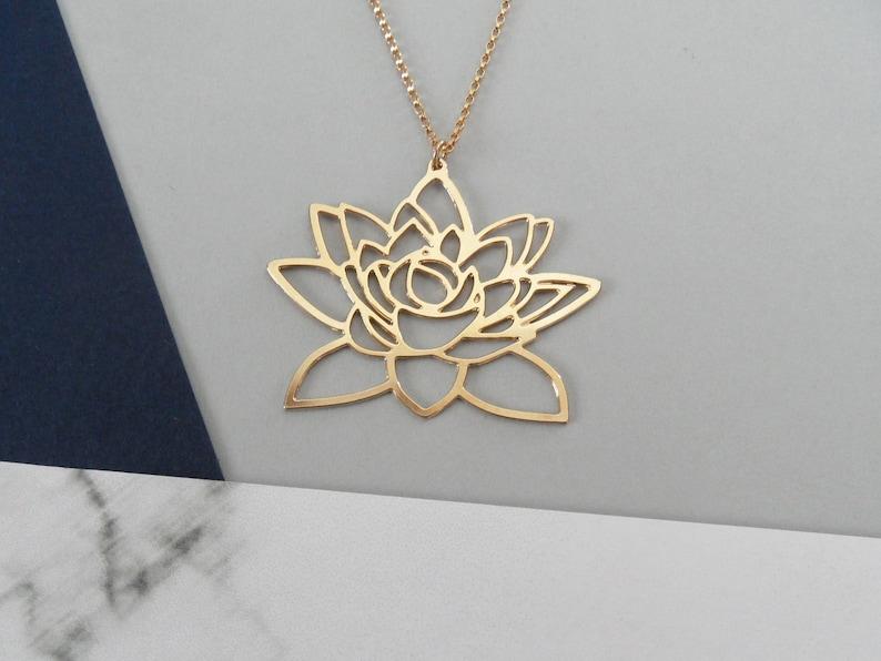 Gold Lotus Flower Necklace Lotus Pendant Lotus Jewelry Flower Etsy