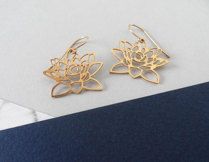 Gold Lotus Flower Earrings Flower Jewelry Lotus Charm Gifts Etsy