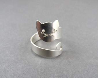 cat ring cat jewelry sterling silver ring silver ring animal ring cat lover cat ring cats adjustable ring