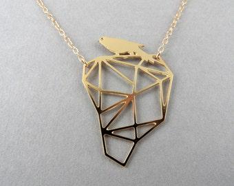bird necklace, geometric bird necklace, geometric jewelry, Hollow