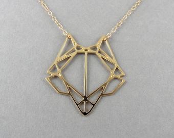 fox necklace geometric fox trophy head fox charm necklace fox jewelry gift for her