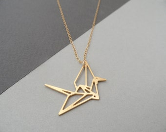 crane origami jewelry crane necklace origami necklace crane jewelry origami crane geometric bird charm gold bird necklace bird jewelry