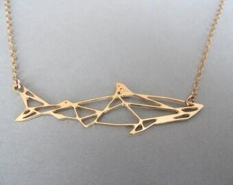 shark necklace geometric jewelry geometric necklace geometric shark necklace shark shark jewelry fish jewelry