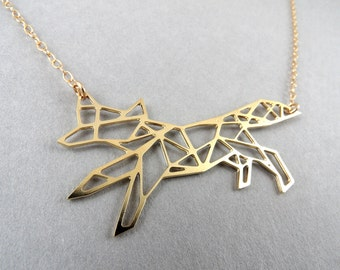 geometric fox charm, fox necklace, geometric fox necklace, geometric jewelry, fox jewelry