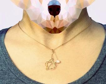 Mini fox Necklace fox head geometric fox geometric jewelry geometric necklace fox charm trophy head gift for her pearl foxy necklace