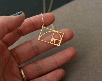 mini fibonacci necklace fibonacci jewelry golden ratio necklace math gift under 50 gift for her