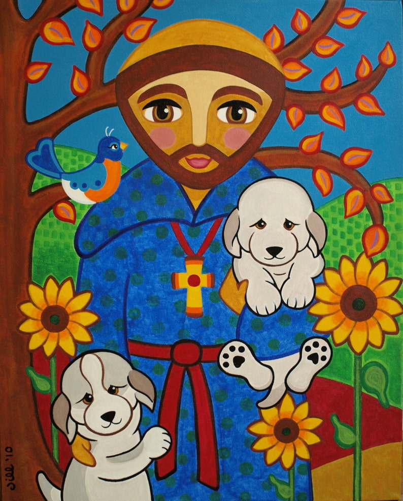 St Francis Of Assisi With Dogs Puppies Folk Art Print From Etsy