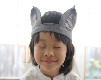 Handmade Gray Felt Gingham Woodland Wolf Ears Headband