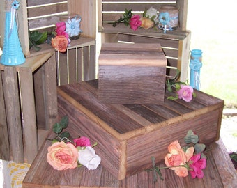 Cupcake stand crates bundle rustic wedding decorations rustic cupcake stand wedding decorations reception 3 tier cake box stand barn wood country outdoor reception junglespirit Choice Image