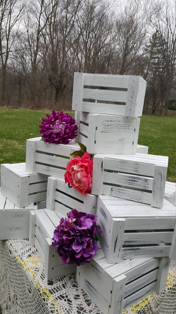 White Wooden Crates Flower Planter Table Centerpiece Etsy