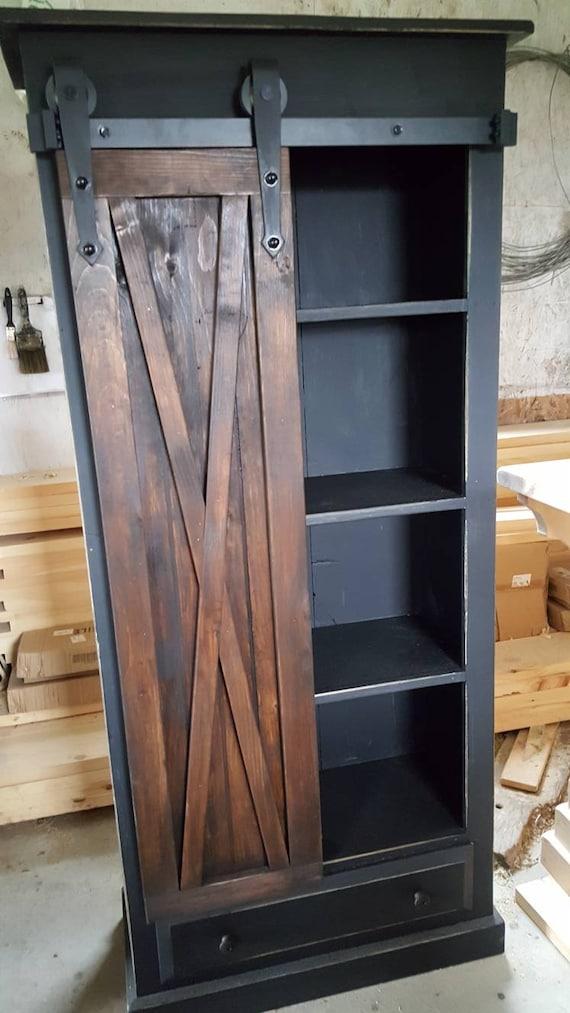Rustic Barn Door Cabinet Furniture, Rustic Storage Cabinets