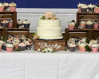 6 Rustic cupcake Stand  8x8, wedding crates , rustic wedding wood cake stand , rustic wedding , wedding decorations , crates