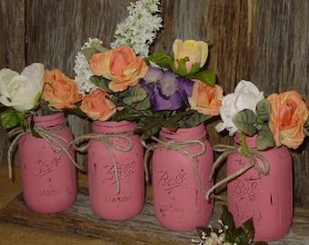 Painted mason jar decorations centerpiece wedding vases rustic wedding cottage chic barn wedding centerpieces