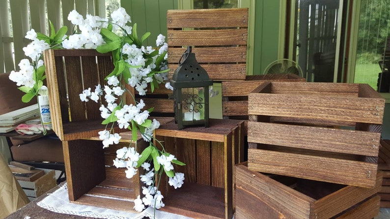 6 Rustic Wooden Crates Wedding Decorations Wood Crate Etsy