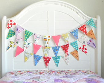 Fabric Bunting Banner Garland for Nursery Decor, Vintage Circus Baby Shower Decorations, Gender Neutral Birthday Party Garland Backdrop