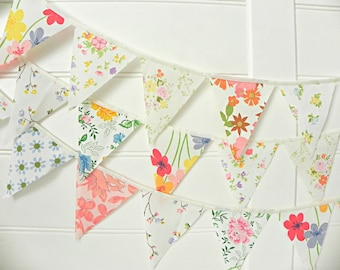 Floral Bunting, Flower Bunting, Shabby Chic Bunting, Fabric Bunting, Vintage Bunting, Garden Bunting, Floral Garland, Tea Party Bunting