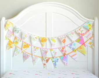 Vintage Fabric Bunting Banner, Floral Garland Nursery Decor Girl, Baby Shower Decorations Garden Party, Rustic Bridal Shower Flags Banners