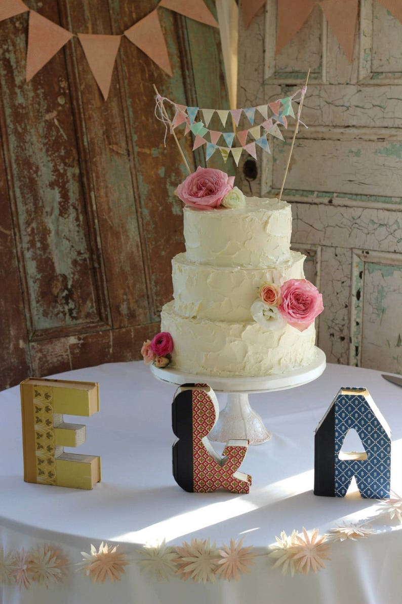 Wedding Cake Bunting Banner Floral Wedding Cake Topper Rustic Cake Topper Baby Shower Vintage Wedding Cake Decorations Shabby Chic Decor