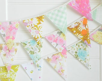 Vintage Fabric Bunting Flags, Garland Banner for Girls Room, Pink Mint Nursery Decor, Floral Baby Shower Decorations, Garden Bridal Shower