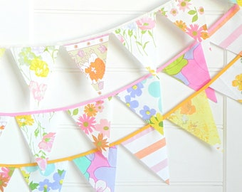 Vintage Floral Fabric Bunting Flags, Garland Banner for Girls Room, Garden Birthday or Baby Shower Decorations, Circus Themed Party Decor