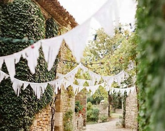 White Fabric Garland Backdrop, Fringe Bunting Banners for Rustic Chic Wedding Decor or Bridal Shower, Bohemian Church Party Decorations