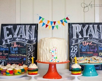 Primary Color Birthday Cake Topper Banner for Vintage Carnival Baby Shower, Rainbow 1st Smash, Whimsical Circus Wedding Cake Bunting Decor