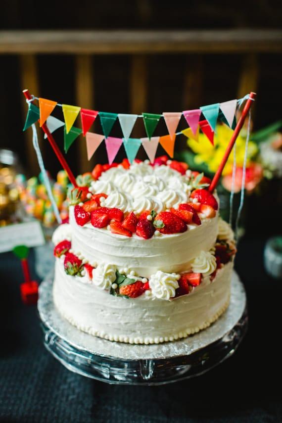 Rainbow Cake Bunting Topper Banner Garland Carnival Birthday