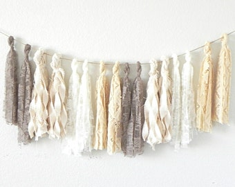 Neutral Fabric Tassel Garland, Lace Garland Banner for Rustic Boho Weddings Bridal Showers, Girl Baby Showers or White Neutral Nursery Decor