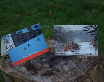 Two Happy Winter Break photo cards with blank inside for your message