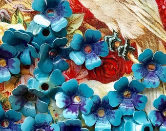 Forget Me Not beads, Vintage Enamel Flower Beads, vintage flower Cabochons, Enamel beads, blue beads,Blue Spacer beads, Metal Jackets,#1708
