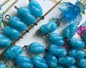 6 Vintage Opaque Blue Glass Connectors, Twist Swirl beads, Glass Beads
