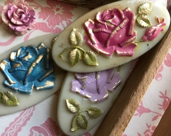 Vintage Rose Cabochons, Shabby chic Cabochons, Long oval cabochons, Cabbage rose, Pink Rose against ivory, 42x20mm #B137X