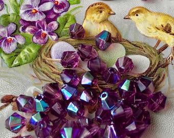 Swarovski Amethyst Bicone beads, Aurora Borealis Glass Beads, vintage Czech beads, Spacer beads, Purple 5mm