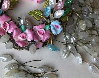 Vintage Wired Glass Leaf headpins, Tiara findings, glass leaves on wire, Vintage stamens