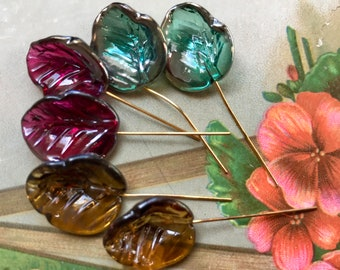 Vintage Murano Glass leaves on wire from Western Germany, Lamp Work Leaves, Luminescent Leaves, Glass Stamens, Ruby Leaves, Emerald, #1162A