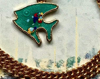 Vintage Sarah Coventry Signed Necklace Guilloche Enamel Fish Charm Nautical necklace,sarah coventry Choker, G27E