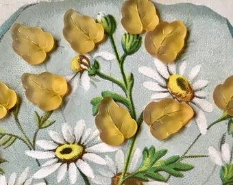 Vintage Yellow Leaves,Leaf Cabochons,German Glass,Topaz Matte Pressed,Pressed German Glass,Matte Yellow Leaves,Tiny leaves,Pressed  #1643B