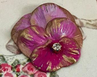 Pink pansies etsy studio vintage enameled pansy findings pansy stamping pansy flowers pink pansy rhinestone pansies steampunk brass pansies rhinestone g19m mightylinksfo