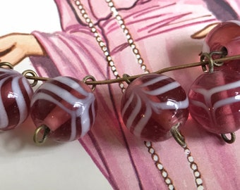 6 Vintage Lamp work connectors beads, Cranberry White Swirl glass beads, shabby chic connectors, Rare beads, Japanese beads, #B239A